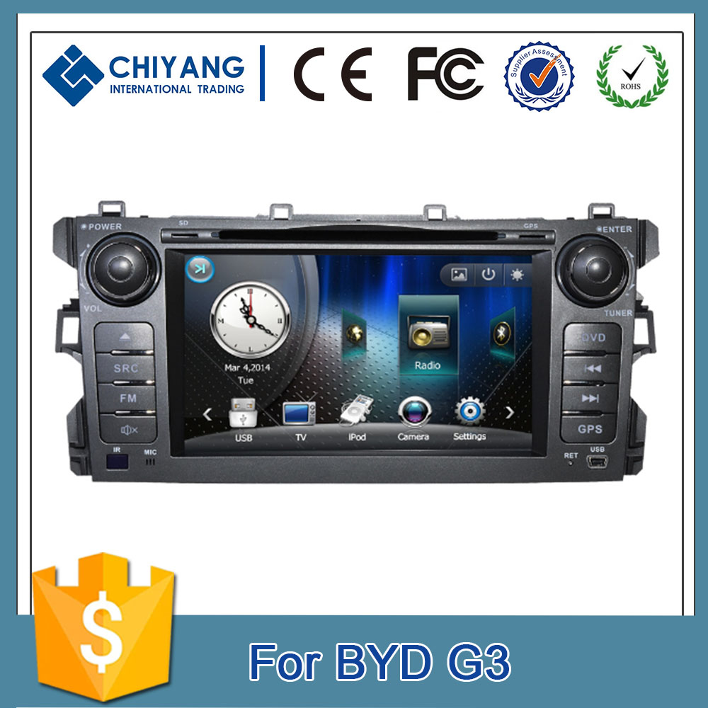 Touch screen 2 din WINCE6.0 car dvd player with gps navigation car multimedia system for BYD G3