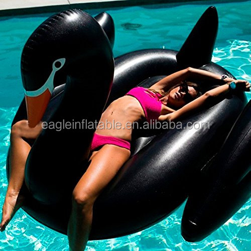 Low MOQ stock Giant black swan plastic swan inflatable floating toy Customized swan float swimming pool rafts