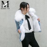 2016 Fashionable Women Long Fur Hooded Parka Winter Warm Coat Jacket Girls Wholesale Custom Denim Jacket