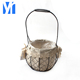 New design round small handmade metal flower pot with plastic liner for plant and home decoration with low price