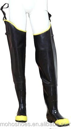 Black and yellow waterfroof fishing rubber hip boots waders