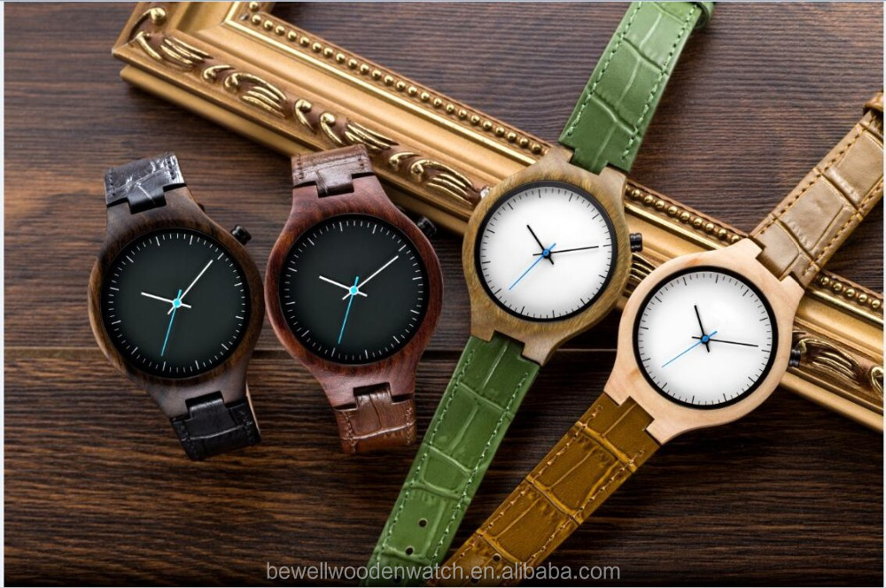 mens watch Shenzhen watch factory bewell all natural wood watch with Cow Leahter Strap