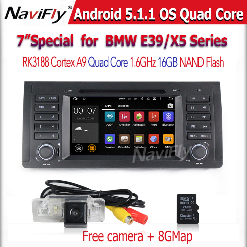 Android 5.1.1 OS 1024*600screen Car DVD GPS navigation player for E39 X5 E53 5 Series with wifi BT radio vide