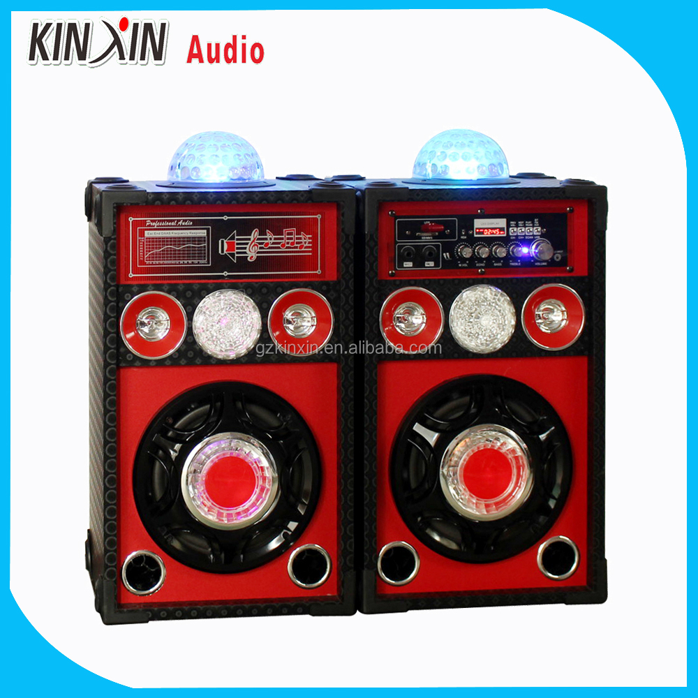 Guangzhou 2016 hot sell 8 inch wooden active pa stage speaker built in amplifier with disco light fm radio