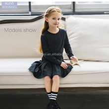 Europe new girls black solid color ruffle dress thin models prom girl dresses 2016