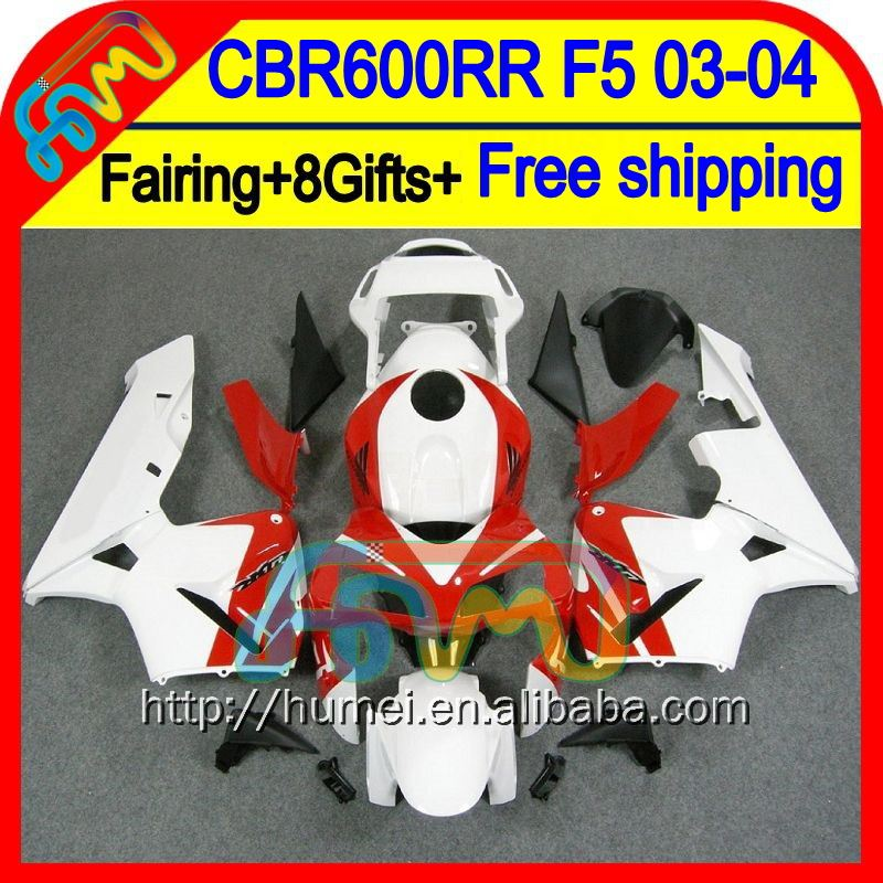 Red white 8Gifts Injection For HONDA CBR 600RR 600 RR 03 04 Red white NEW 50HM41 CBR600 RR F5 CBR600RR 2003 2004 03-04 Fairing