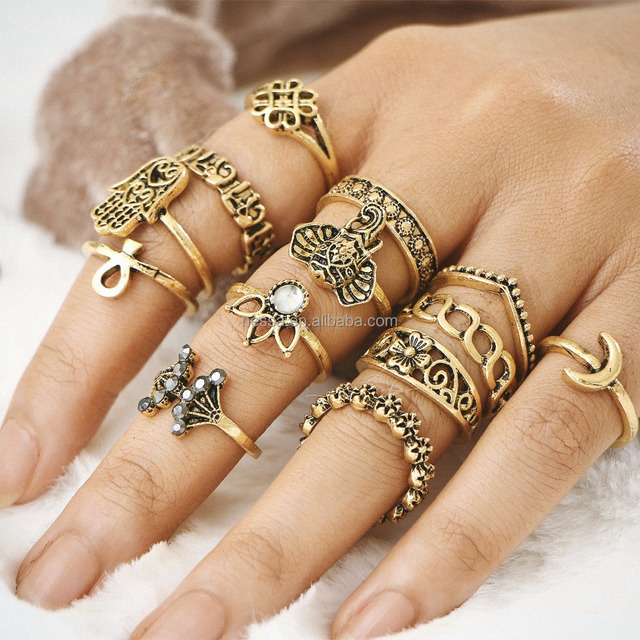 Fashion Gold Finger Design Midi Ring Set For Rings Jewelry Women Wholesale