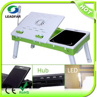 NBT-69 Multipurpose Bed Mate Portable Table for Laptop / with Fan LED Light Hubs Stationery Box