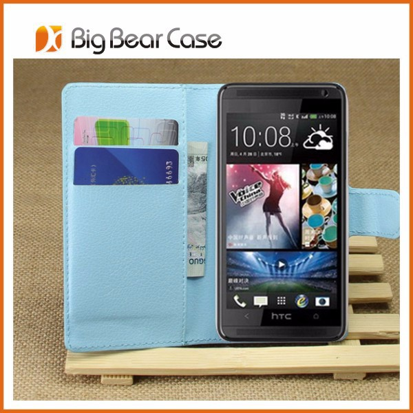 Flip leather mobile phone case for htc desire 601