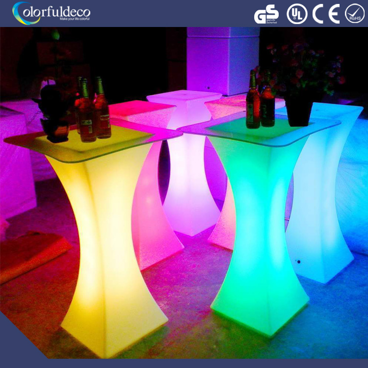 Wedding stage design type and plastic used led party rental furniture round bar tables decoration light