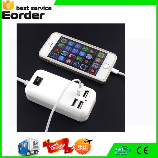 New Design EU/US/UK Plug 12A 4 USB Ports Travel Home Wall Charger Power Adapter with Switch