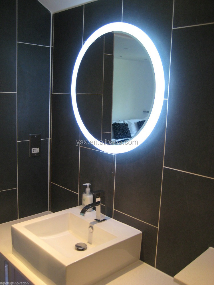 luxury bathroom accessories LED Rounded bathroom Mirror with fog free