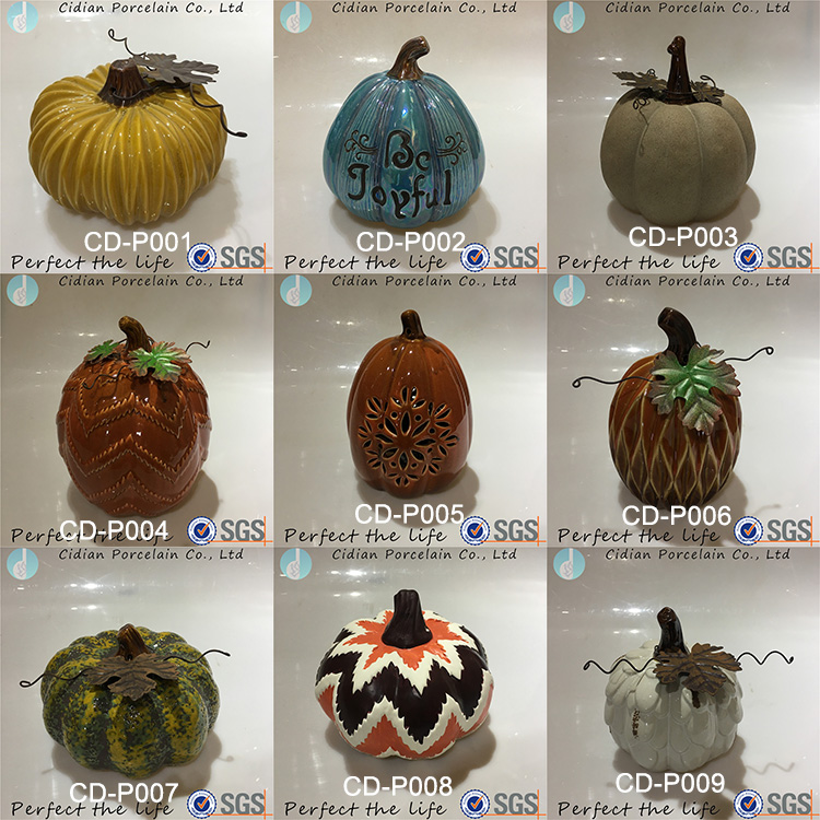 Harvest decoration ceramic wire leaf pumpkin