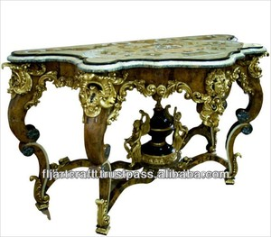 Design Top Panel Wood Carved Antique French Style Console Table