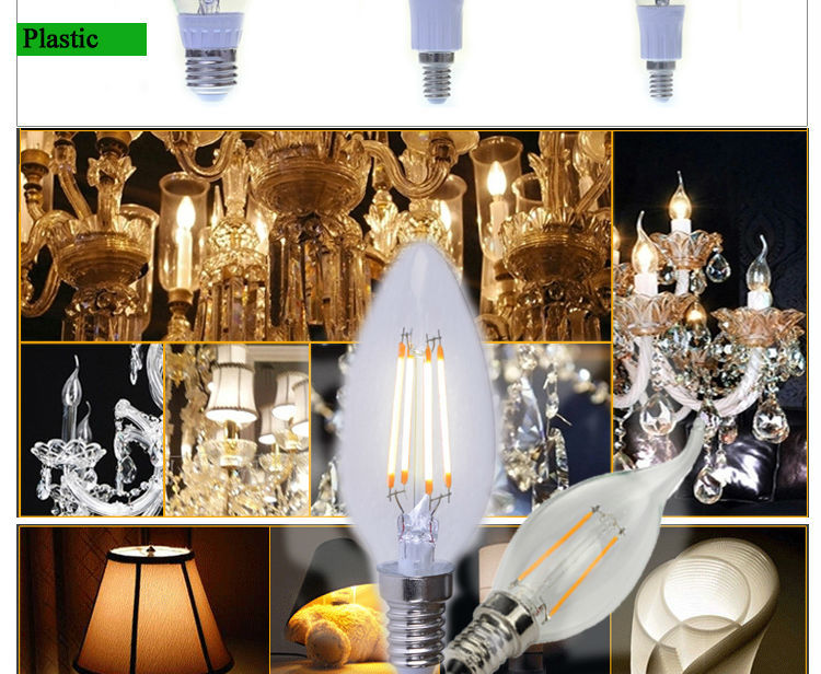 Newest Design 2W 4W 6W LED Filament Light, E14 E12 Candle C35 LED Filament Lamp with CE ROHS Certification