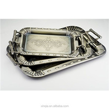 Arab serving tray silver square tray Flower design stainless steel serving trays
