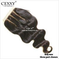 Top selling full cuticle brazilian 3 way part lace closure