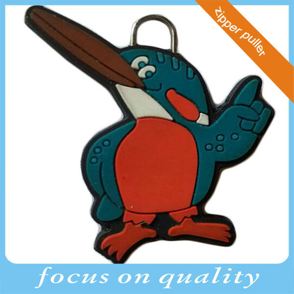 2016 zipper tag customized penguin shape design 3d embossed silicone zipper head