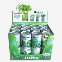 Herb seeds in tin can/tin can planter/basil parsley oregano chive mint seeds in herb planter