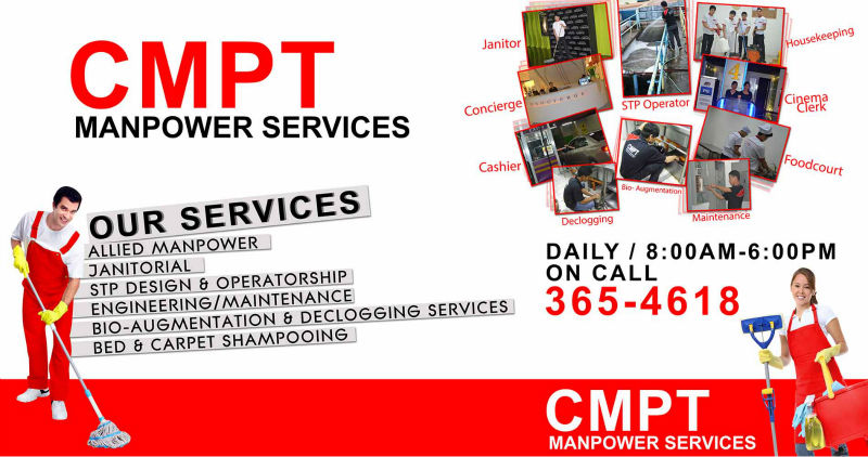 Janitorial Services, Aircon Technician, Bio- Augmentation, Maintenance, Office Staff