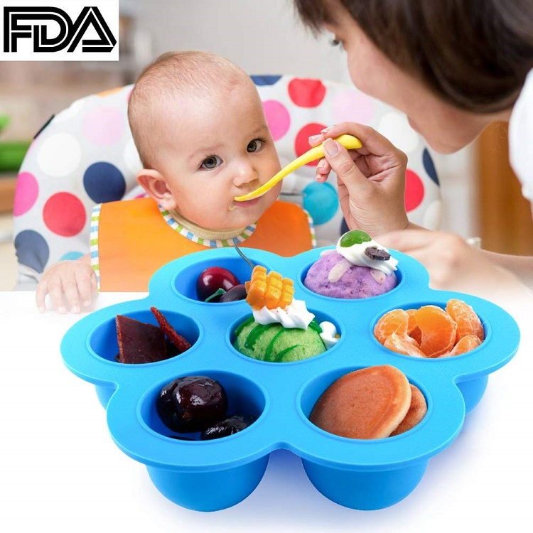 100% Food Grade 7 Cavity Round Silicone Egg Bites Molds