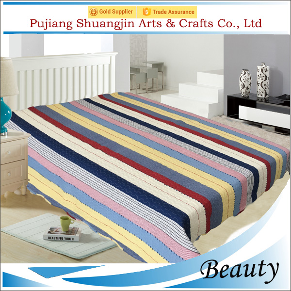 Alibaba supplier 70gsm microfiber printed polyester colorful stripe bedding set