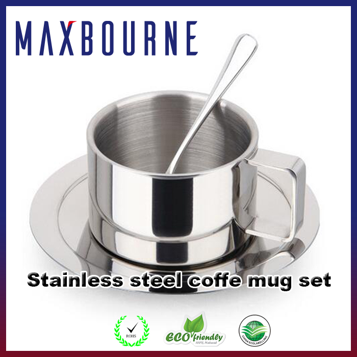 hotsale Double Wall high quality Stainless Steel Coffee mug Set with rack