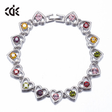ODM OEM crystals from Swarovski hand jewelry manufacturer custom logo 2017 fashion colorful heart charm bracelet