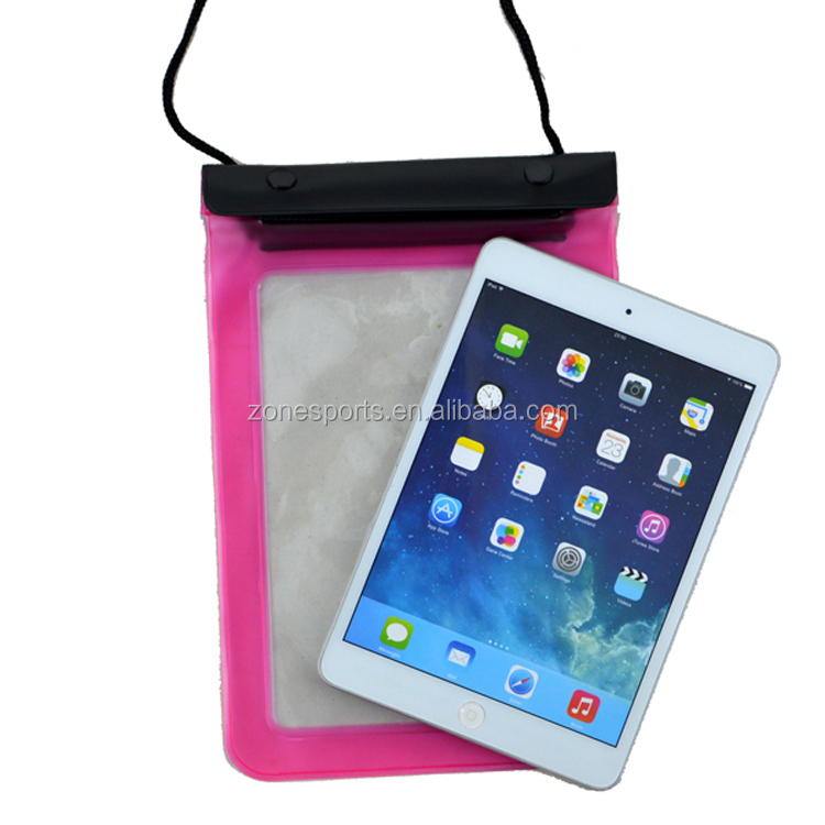 High quanlity PVC waterproof zipper ipad bag for swimming/drifting/outdoor
