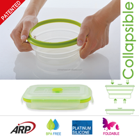 800ml collapsible silicone food container with PP lid