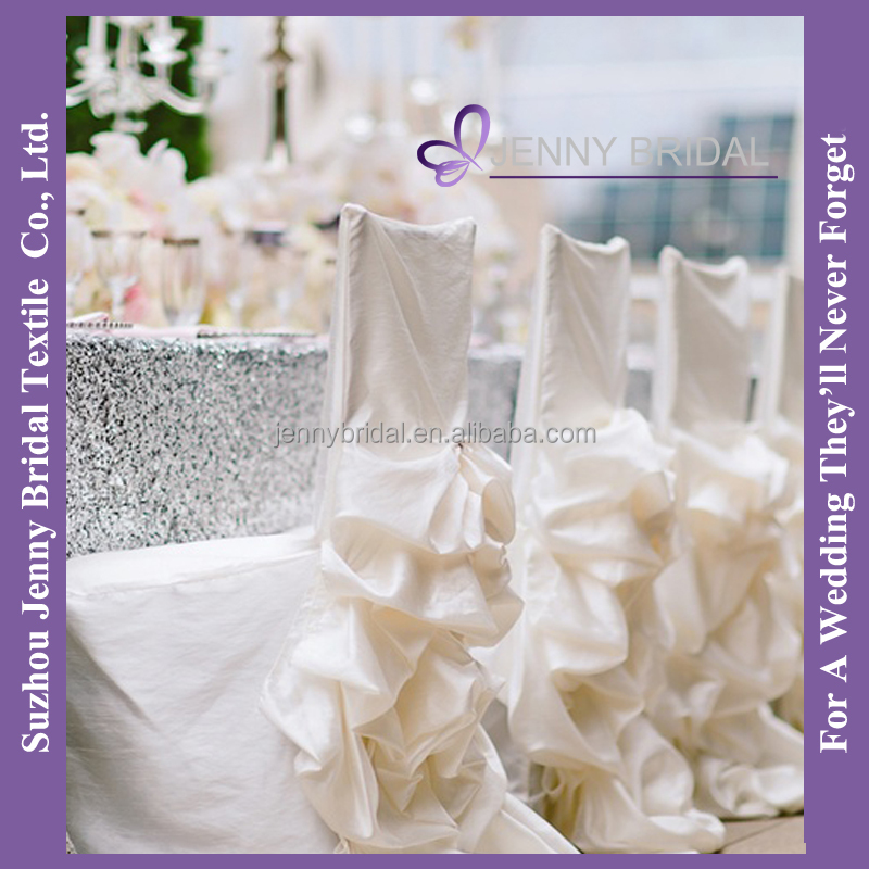 C001D silver sequin tulle fabric table cloth ivory taffeta wedding decoration chair covers and table covers