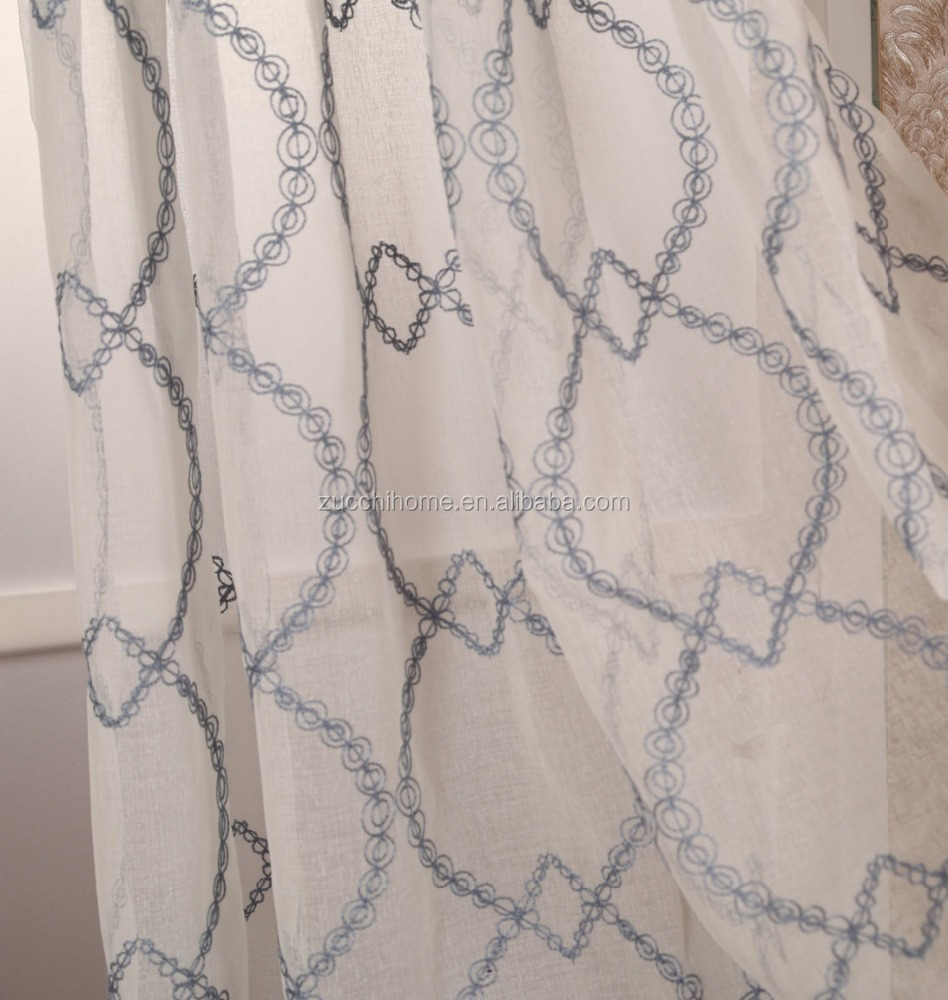 Latest Curtain Designs Embroidered Dolly Voile Curtain Elegant Sheer Window Treatment