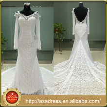 ASAP-06 Off the Shoulder Long Sleeves Pearls Appliques Lace Backless Mermaid Wedding Dresses 2016