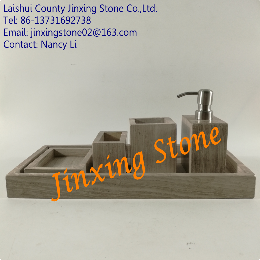 5pcs Set Ancient Wood Marble Bathroom Sets Natural Stone Bathroom Accessories Soap Dispenser Marble Tumbler Soap Dishes Tray