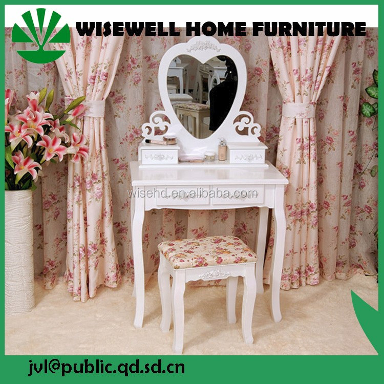 W-HY-057 white french antique wooden vanity table with mirror