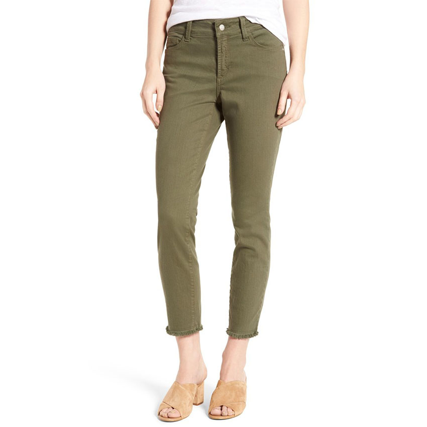 Nichelle Frayed Stretch Twill Ankle Pants