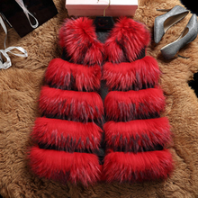 Long pattern red fox fur vest 2016 winter new design women fur gilet
