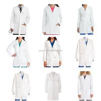 New High Quality Hospital uniforms Unisex White Long Sleeve Lab Coat