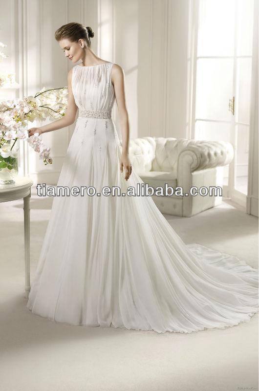 High Neck A-line Chiffon Wedding Gown and Bridal Dress Buttons Down the Back
