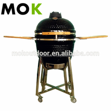 Large ceramic charcoal round barbecue grill with double side grill pan