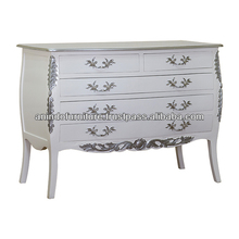 French White Painted Commode with 5 Drawers