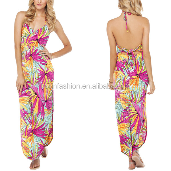 hawaiian print maxi dress high fashion womens clothing