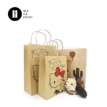 Factory dire-sale print Kitty cats brown kraft recycled paper bag for shopping