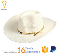 wholesale unisex white paper straw cowboy hats