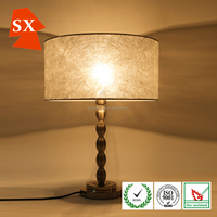 Modern round fiber fabric shade house bedroom metal base table desk lamp