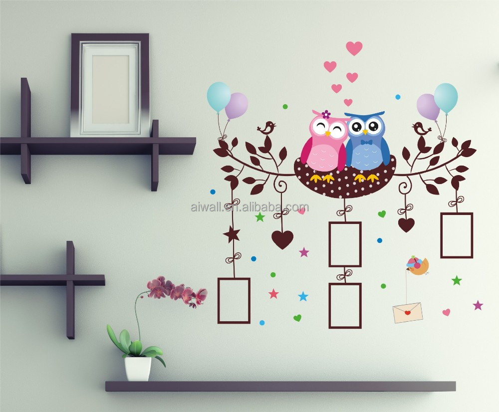 3050 Photo Frame Wall Sticker Owl Tree Love Removable Decals for <strong>Kids</strong>