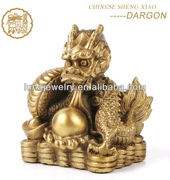 Fabulous Hong Tze Collection-Triple Chinese zodiac animals Resin Dragon statue