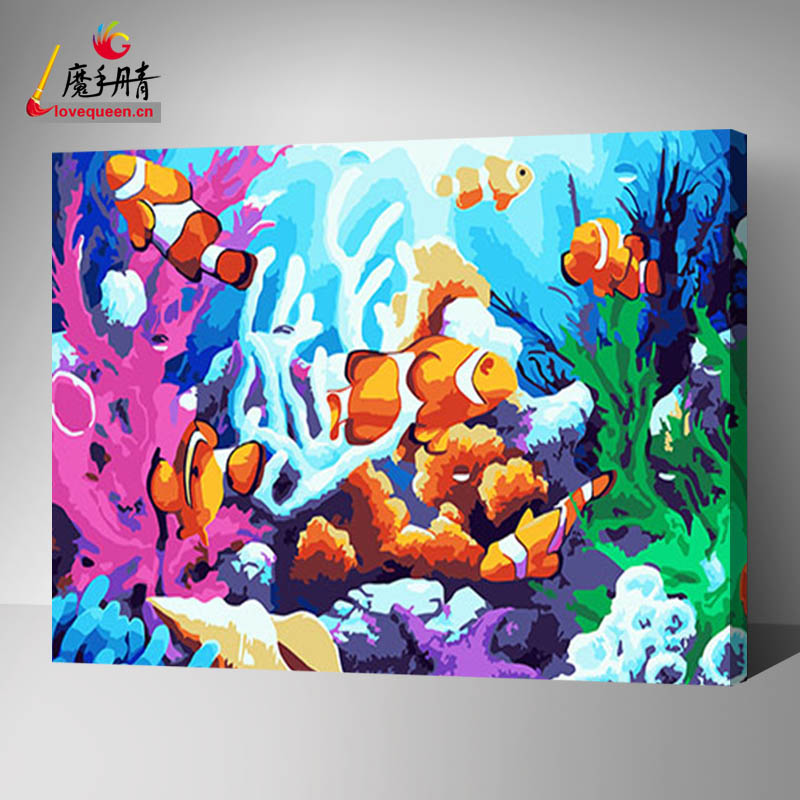 Household and gift items fish picture painting by number diy painting toys