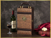 Classical Double Wine Display Case With Handle Portable Wine Box Wholesale