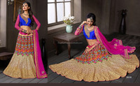Bridal Wear Satin lehenga with beautiful thread work done-Pakistani Designer Heavy Bridal Lehenga Choli Dress Pakistani Lehengas